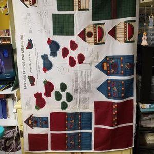 Fabric Sewing Panel Birdhouse & Birds
